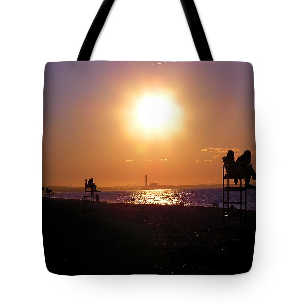 Sandy Neck Tote Bag featuring the photograph Lifeguard Chairs by Charles Harden