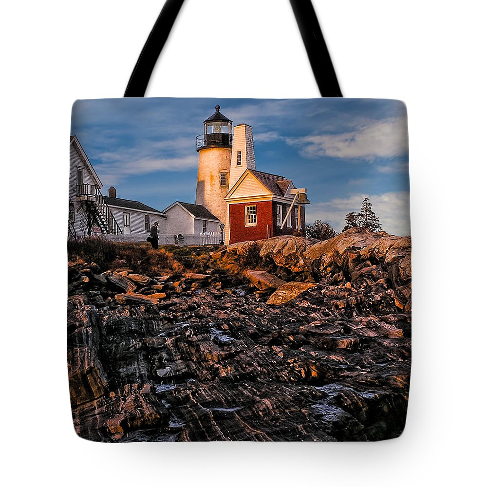 Atlantic Tote Bag featuring the photograph Light At Pemaquid Point by Nick Zelinsky