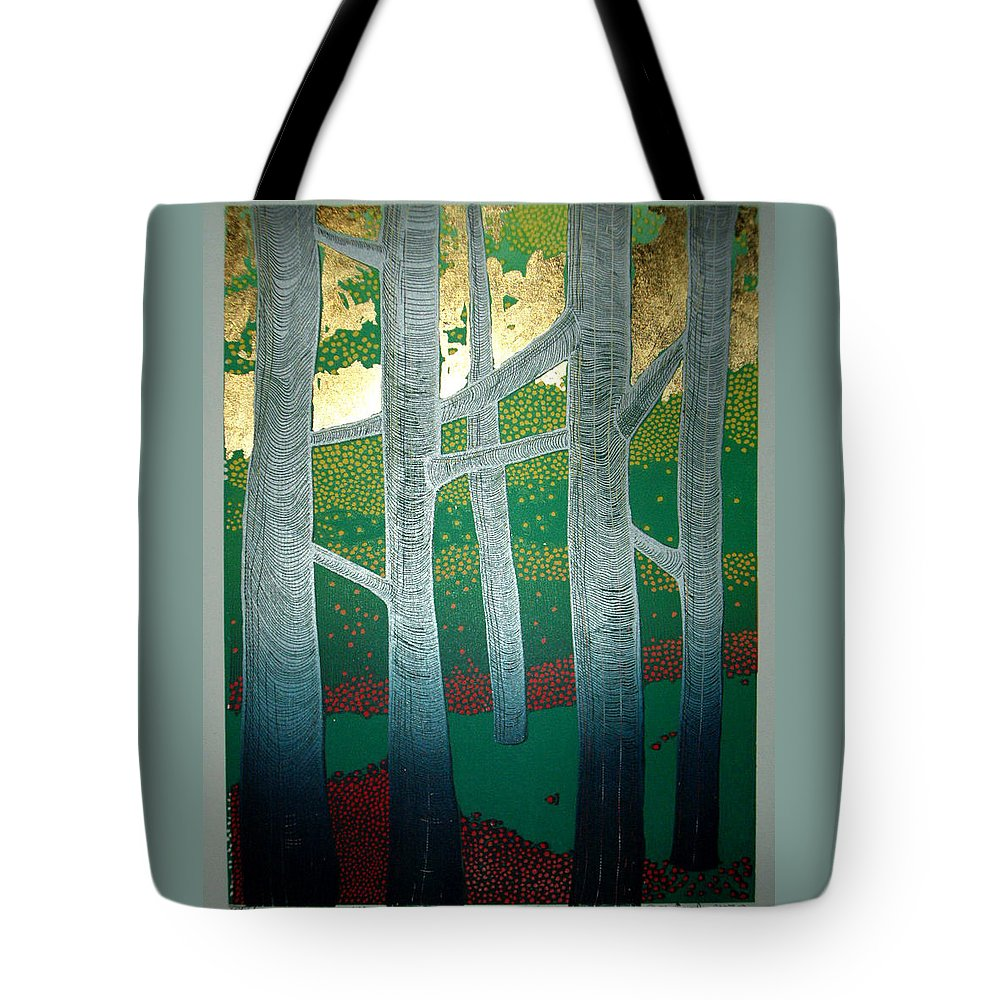 Landscape Tote Bag featuring the mixed media Light Between The Trees by Jarle Rosseland