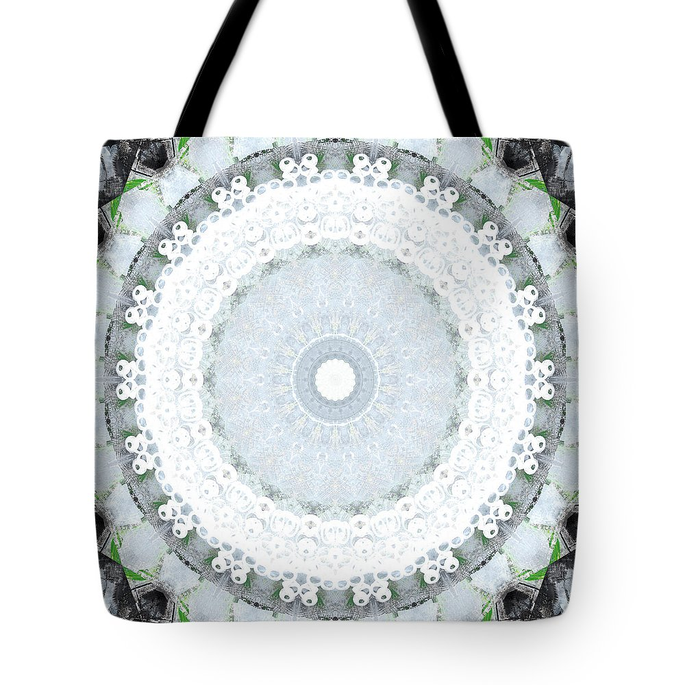 Mandala Tote Bag featuring the mixed media Light Blue Mandala- art by Linda Woods by Linda Woods
