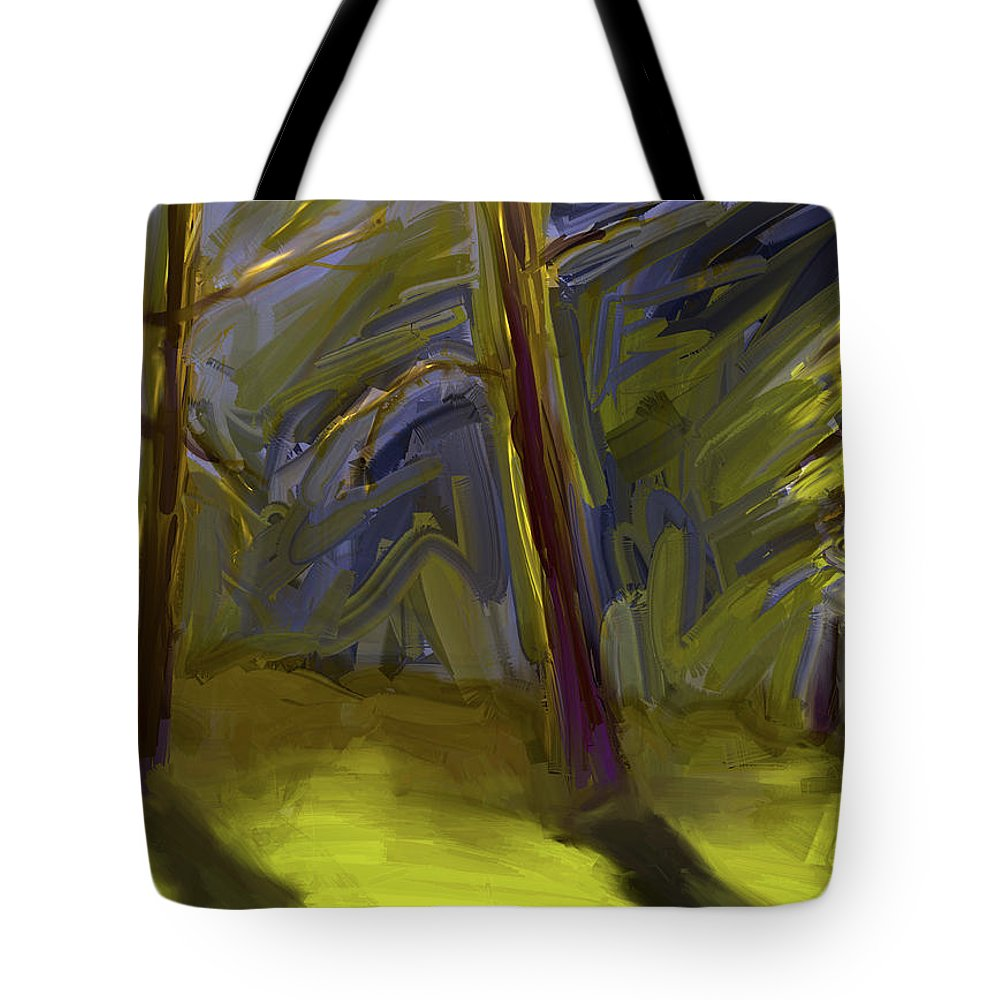 Trees Tote Bag featuring the digital art Light Breaking Through by Jim Vance