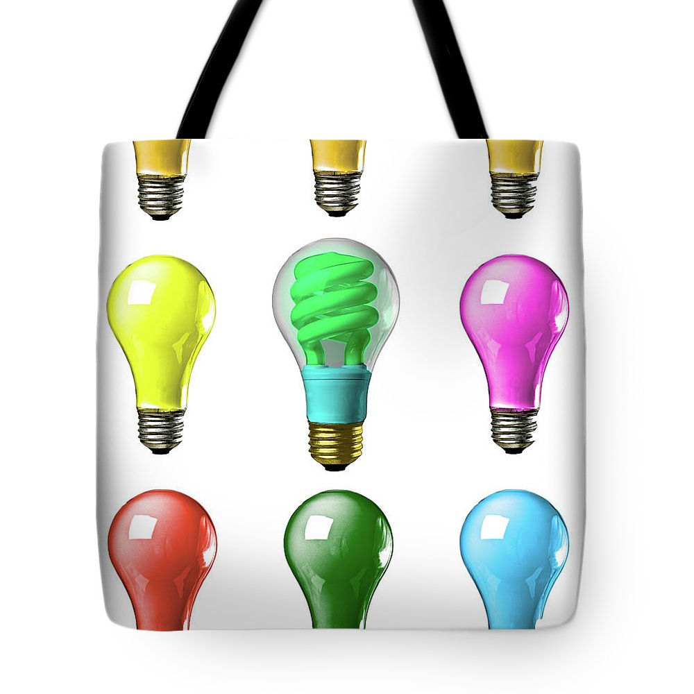 Business Tote Bag featuring the photograph Light Bulbs Of A Different Color by Bob Orsillo