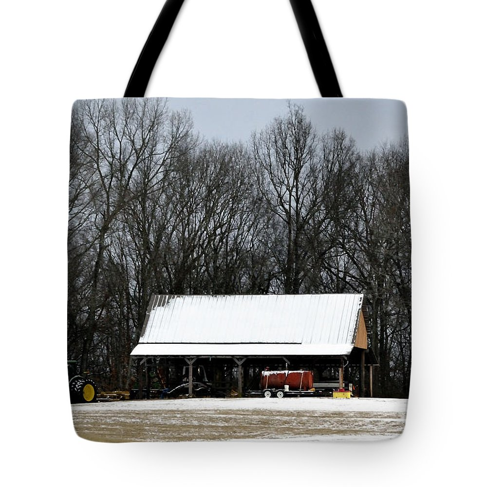Snow Tote Bag featuring the photograph Light Dusting by Glenda Ward