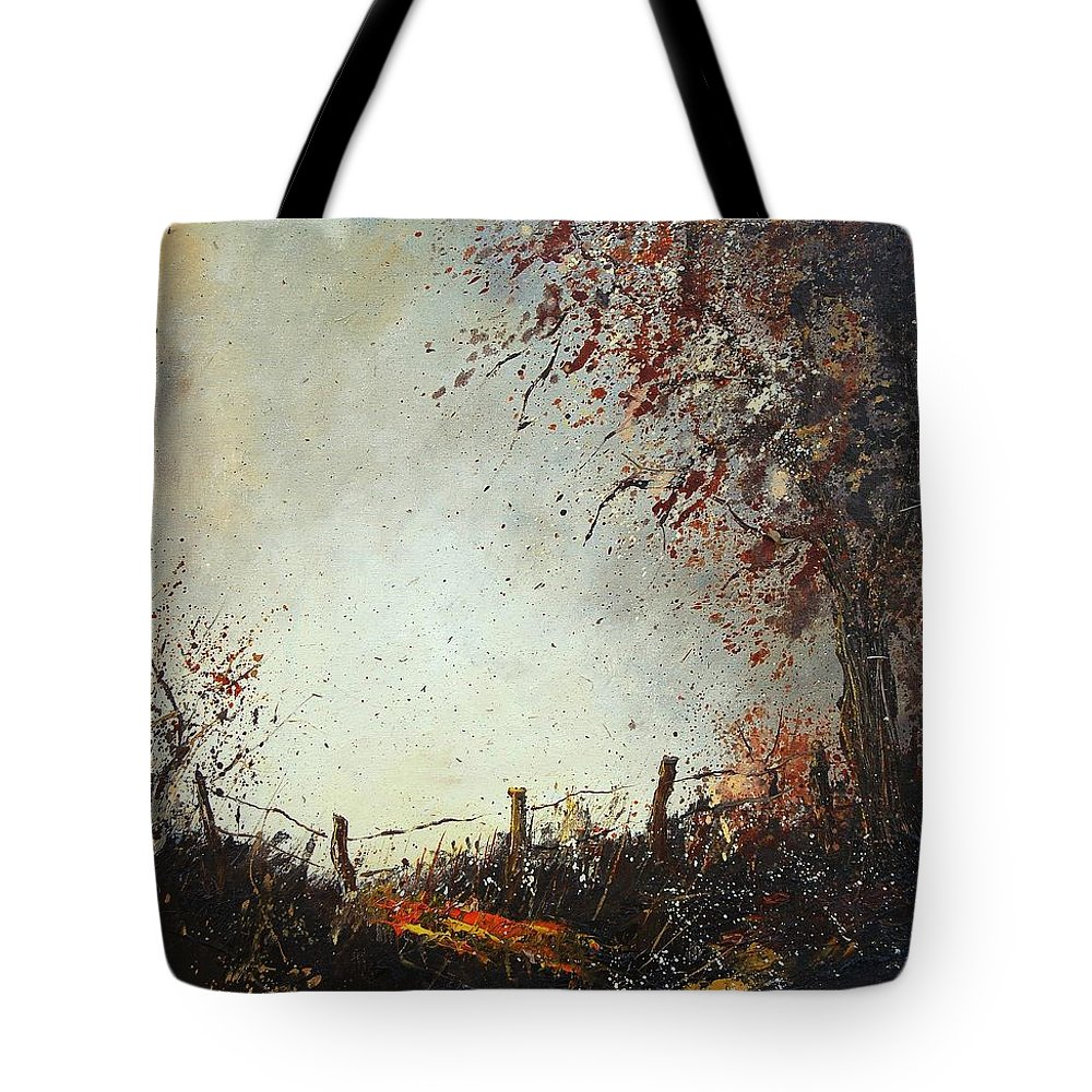 Tree Tote Bag featuring the painting Light In Autumn by Pol Ledent