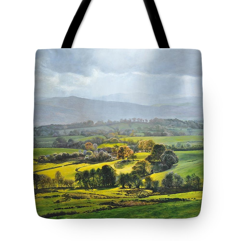 Wales Tote Bag featuring the painting Light In The Valley At Rhug. by Harry Robertson