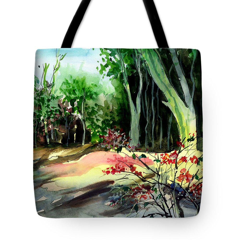 Watercolor Tote Bag featuring the painting Light In The Woods by Anil Nene