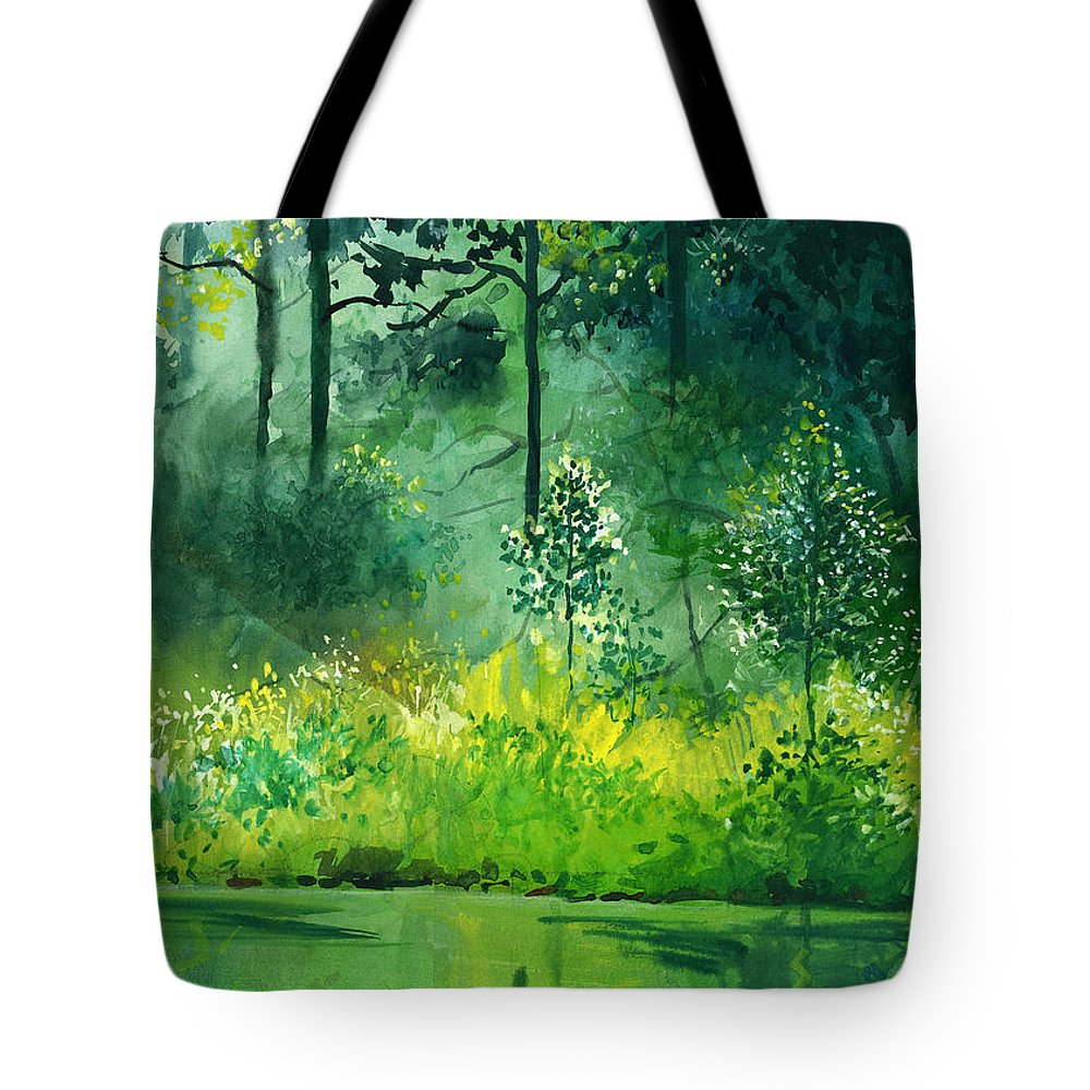 Water Tote Bag featuring the painting Light N Greens by Anil Nene