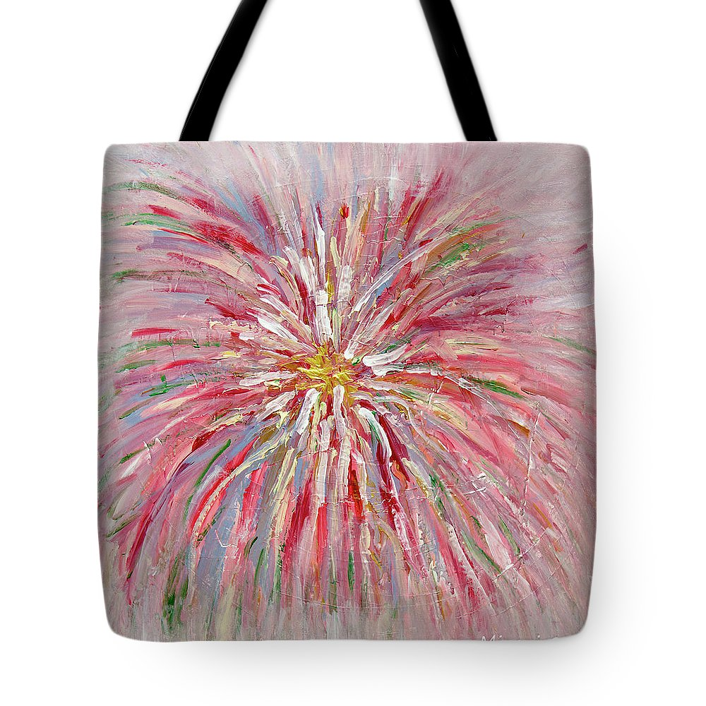 Tote Bag featuring the painting Light Of Love by Mira Hordynska