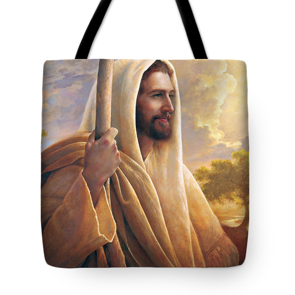 Light Of The World Tote Bag featuring the painting Light of the World by Greg Olsen