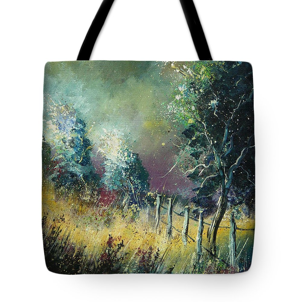 Landscape Tote Bag featuring the painting Light On Trees by Pol Ledent