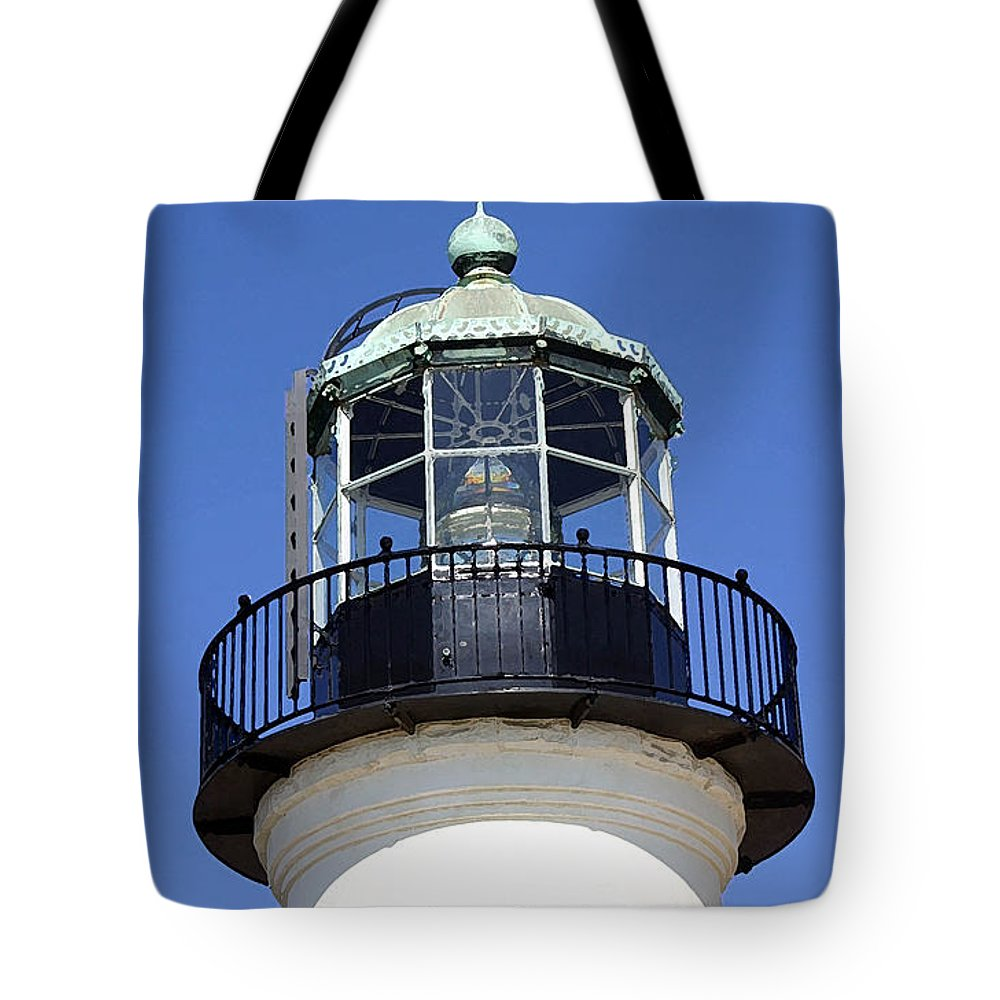 Lighthouse Tote Bag featuring the photograph Light Sentry by Mary Haber