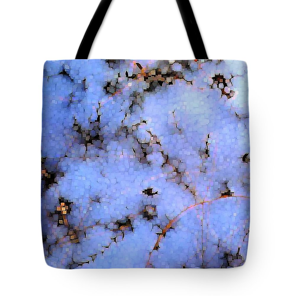 Abstract Tote Bag featuring the digital art Light Snow In The Woods by Dave Martsolf