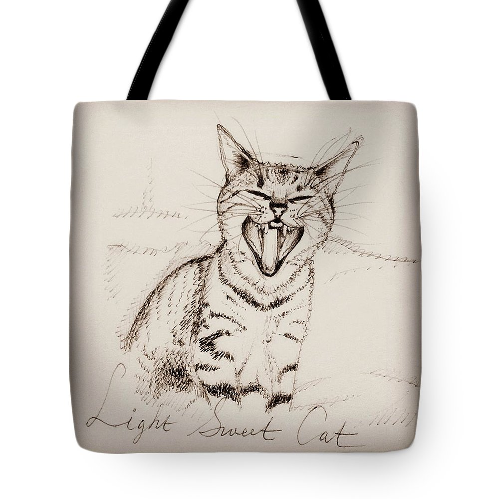 Cat Tote Bag featuring the drawing Light Sweet Cat by Pookie Pet Portraits