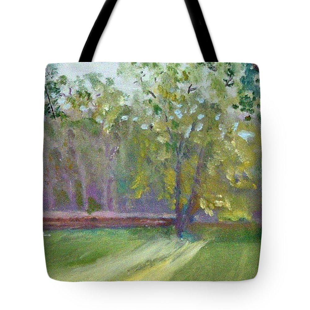 Hidden Falls Tote Bag featuring the painting Light Through The Trees by Paul Thompson