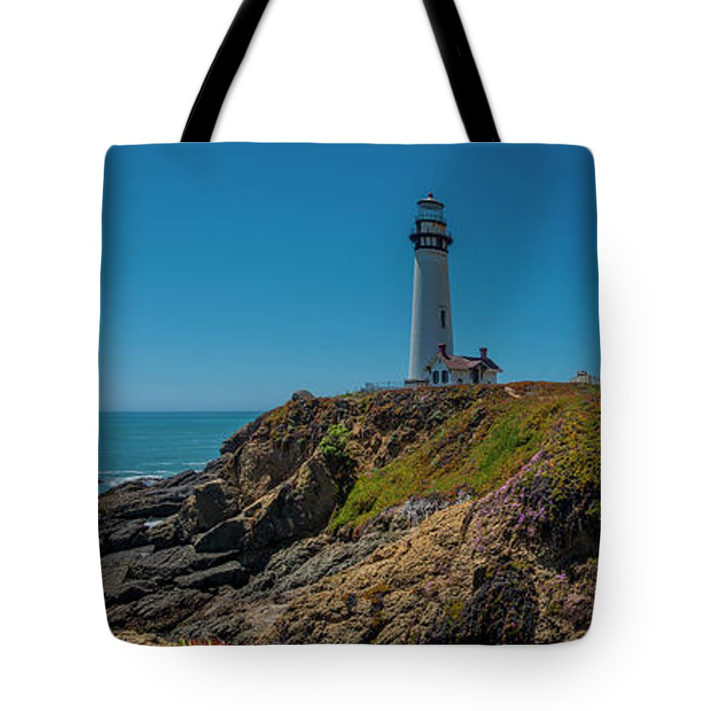 Light House Tote Bag featuring the photograph Light Tower Panoramic by Moshe Levis