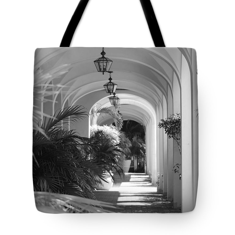 Architecture Tote Bag featuring the photograph Lighted Arches by Rob Hans
