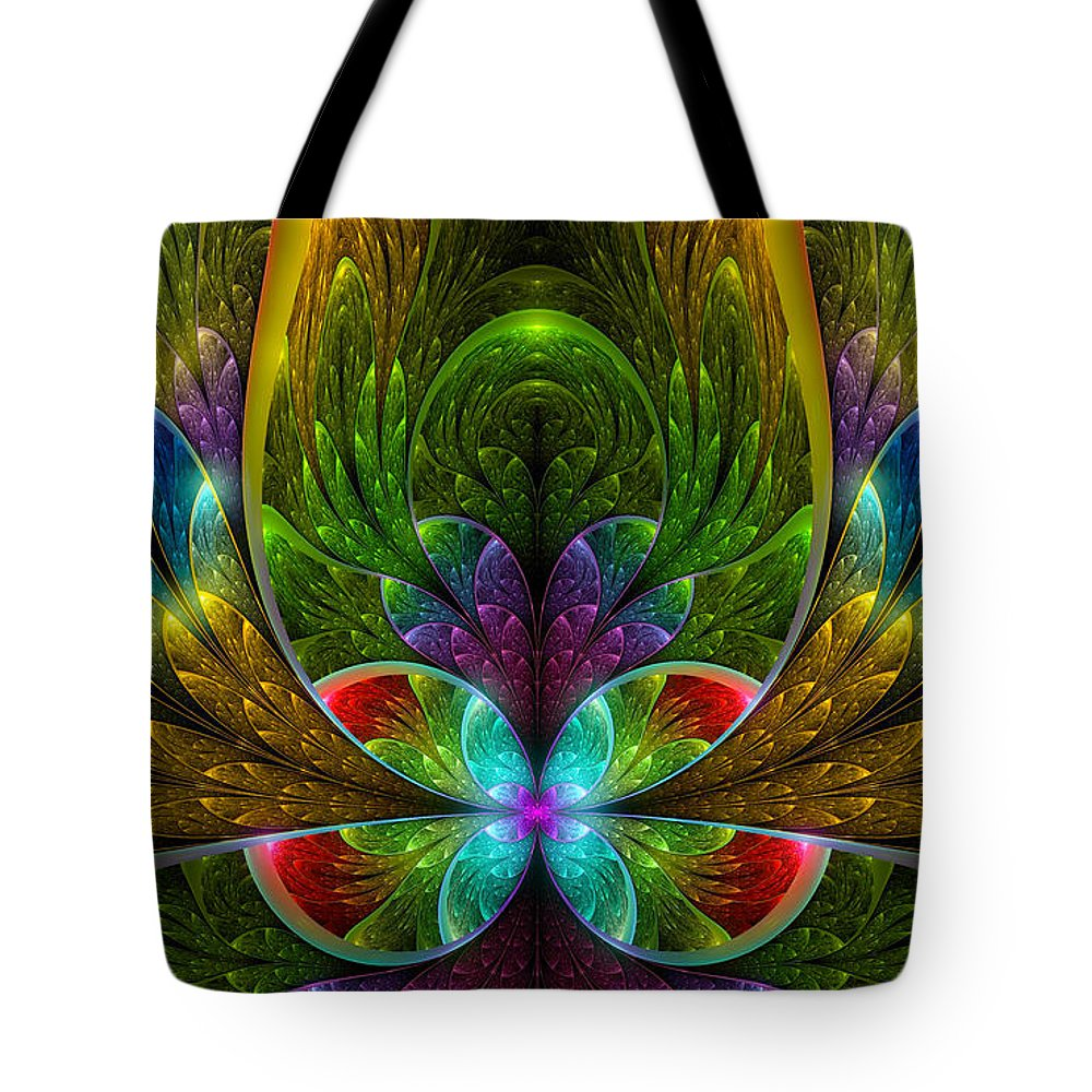 Fractal Tote Bag featuring the mixed media Lighted Flower Fractal by Garland Johnson