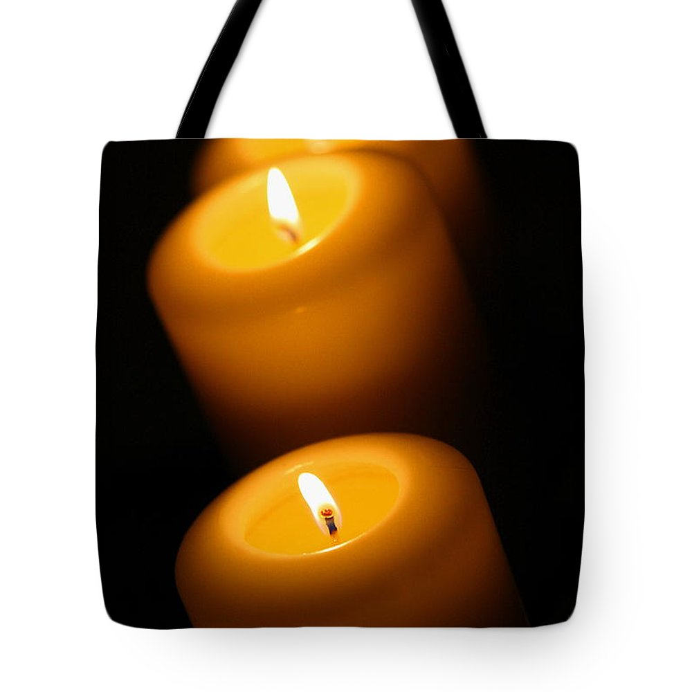 Candle Tote Bag featuring the photograph Lighted Path by Angela Rath