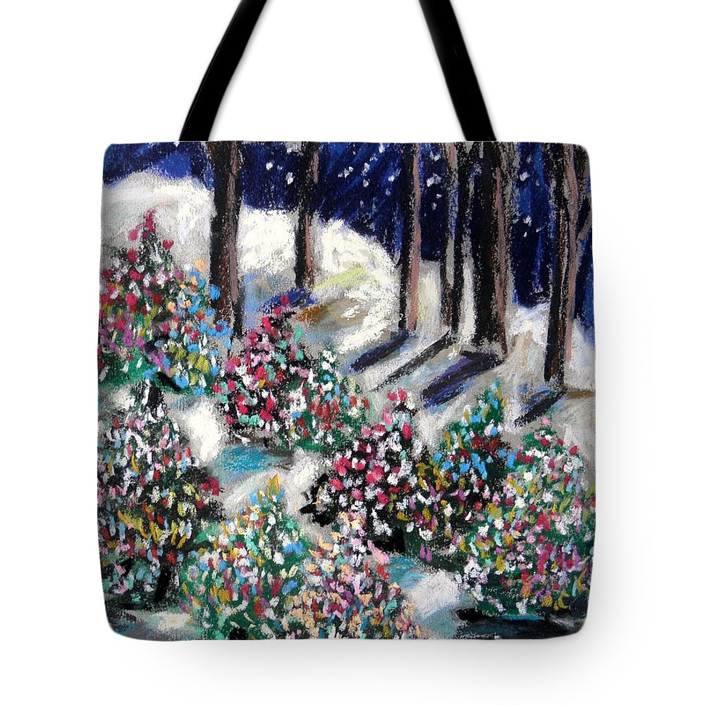 Christmas. Blue Sky Tote Bag featuring the painting Lighted Path by John Williams