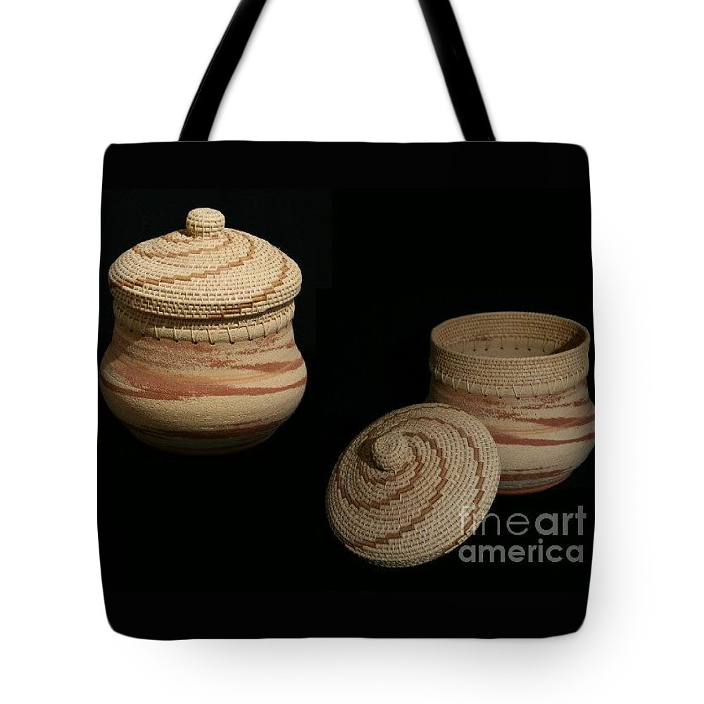 Clay Tote Bag featuring the mixed media Lightening Clay Basket by Darlene Ryer