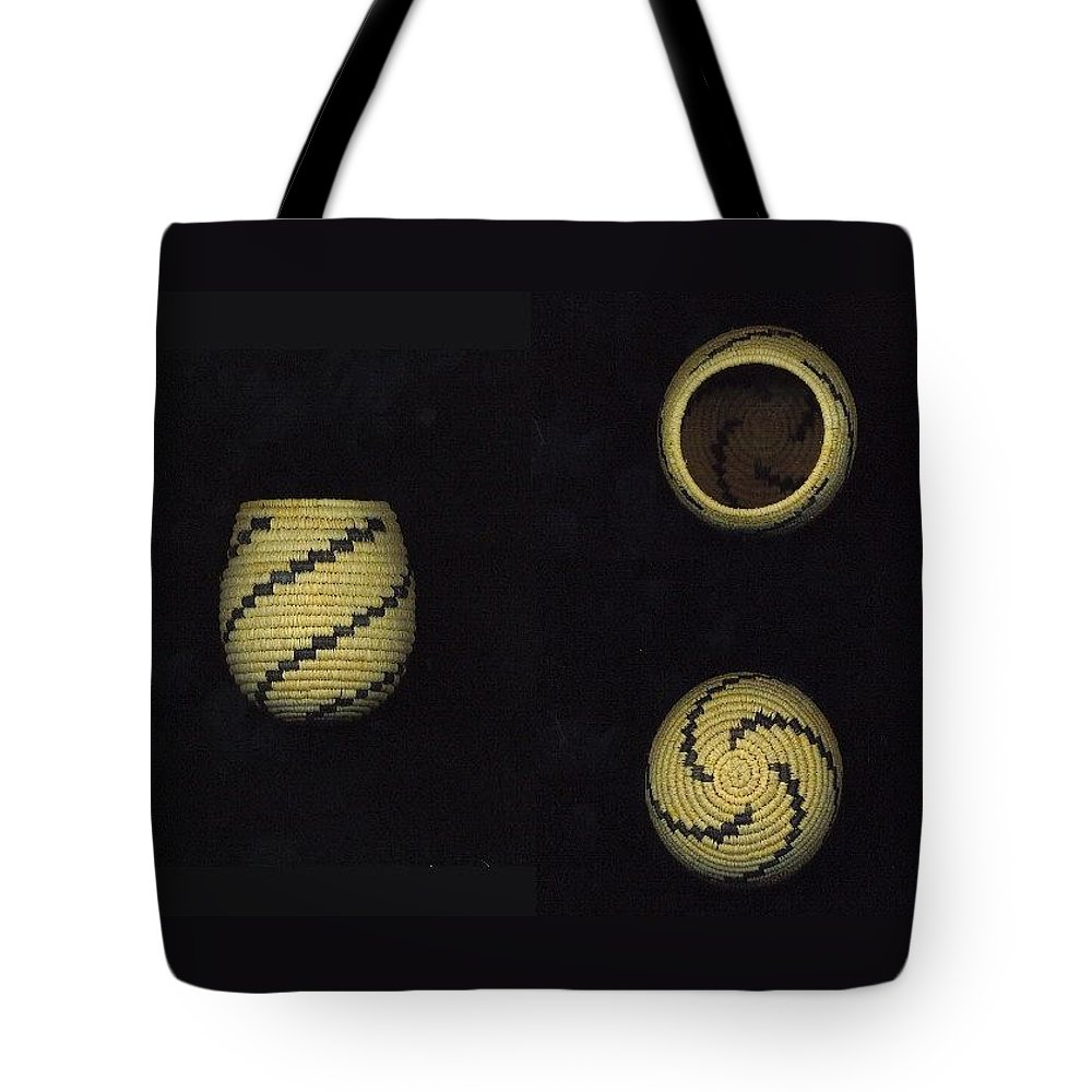 Basket Tote Bag featuring the mixed media Lightening Pattern Olla Double Mini Basket by Darlene Ryer