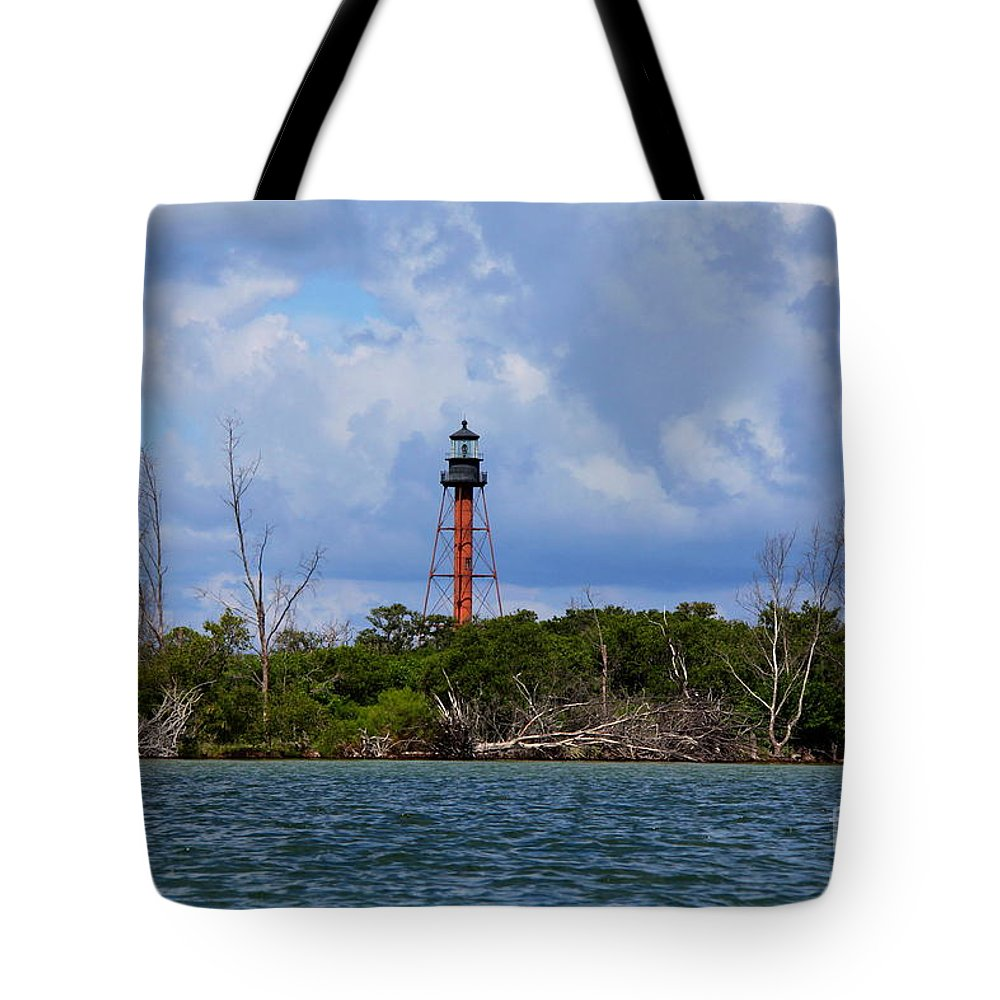 Lighthouse Tote Bag featuring the photograph Lighthouse At Anclote Key by Barbara Bowen