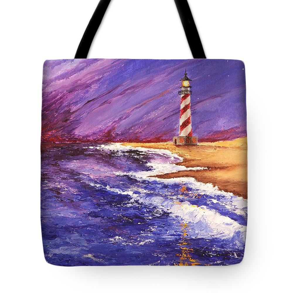 Seth Tote Bag featuring the painting Lighthouse At Dusk by Seth Murphree