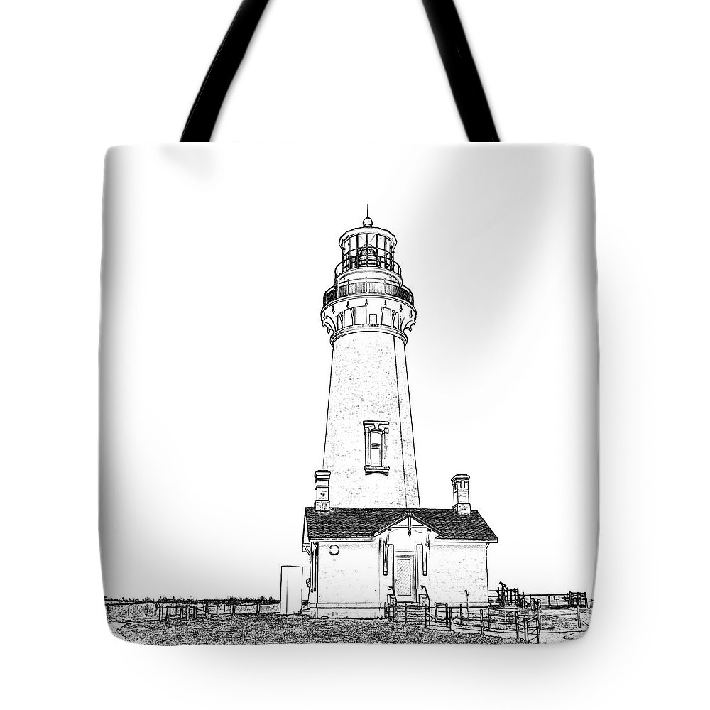 America Tote Bag featuring the photograph Lighthouse Computer Drawing by Marv Vandehey