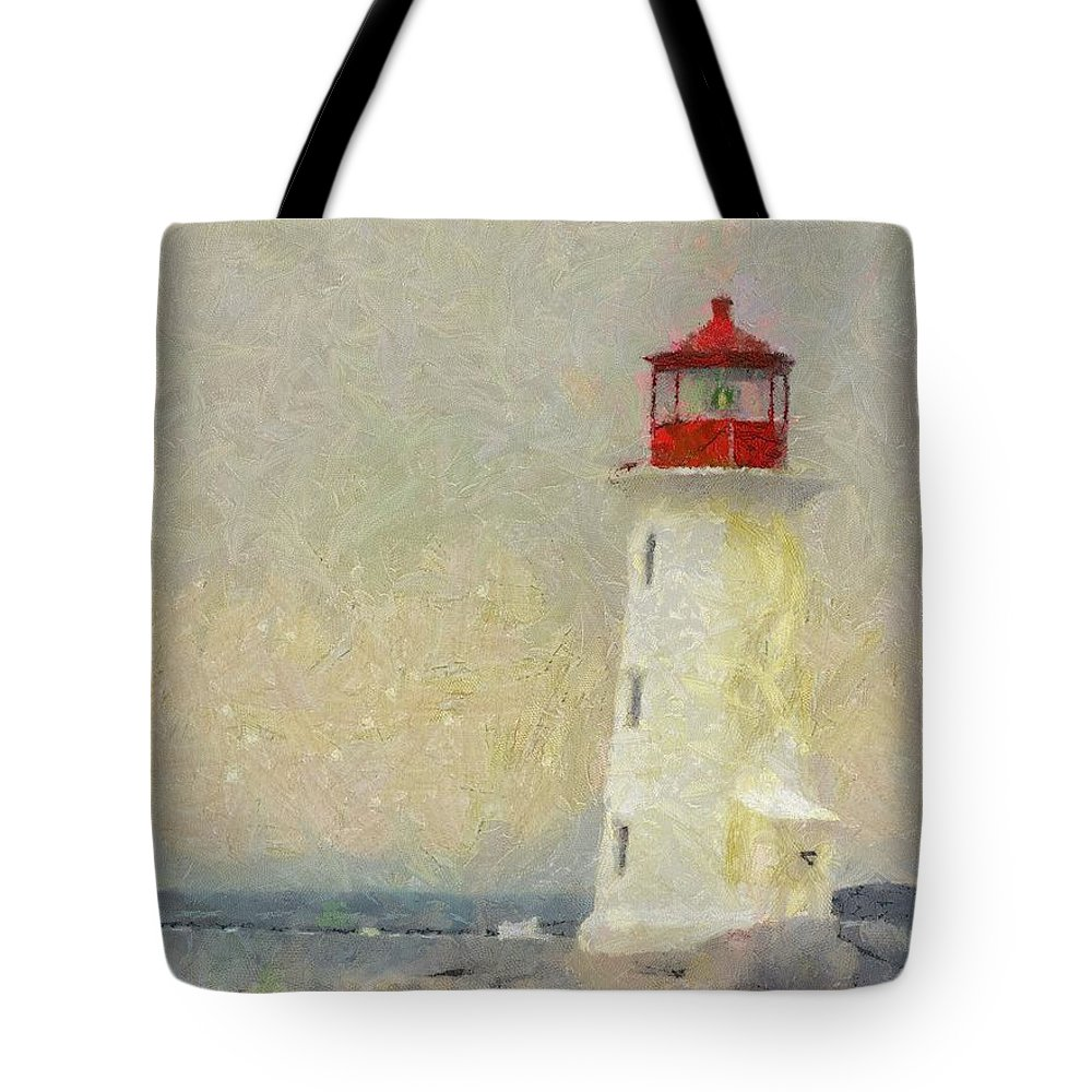 Canadian Tote Bag featuring the painting Lighthouse by Jeffrey Kolker