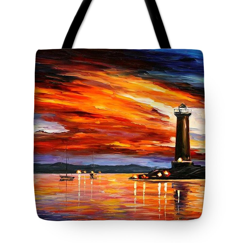 Afremov Tote Bag featuring the painting Lighthouse by Leonid Afremov