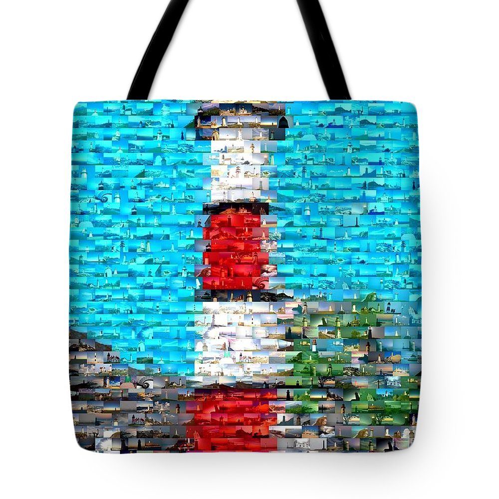 Blue Tote Bag featuring the mixed media Lighthouse Made Of Lighthouses Mosaic by Paul Van Scott