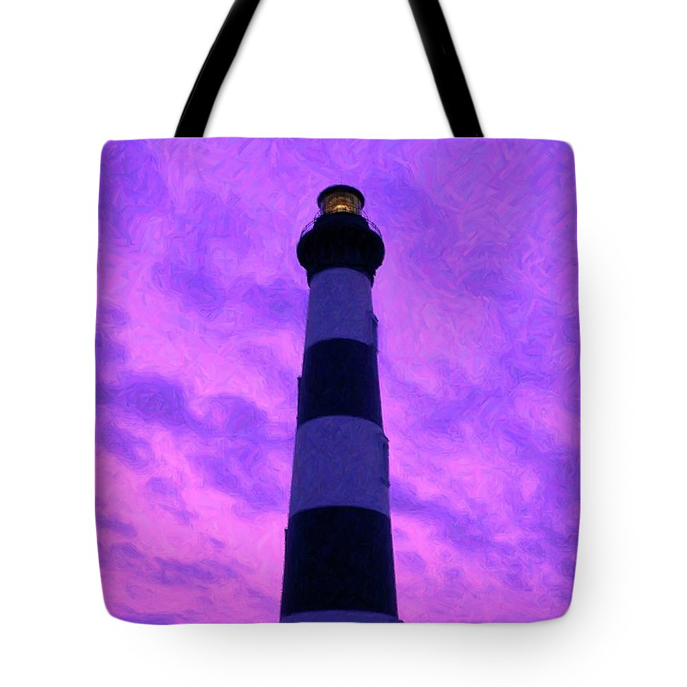 Light Tote Bag featuring the photograph Lighthouse Sunset - Digital Art by Al Powell Photography USA