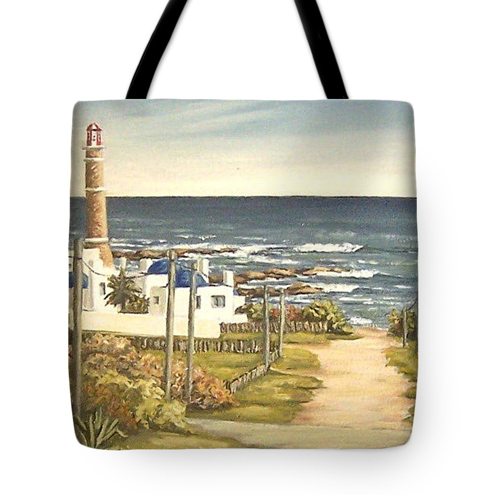 Lighthouse Seascape Sea Water Uruguay Tote Bag featuring the painting Lighthouse Uruguay by Natalia Tejera