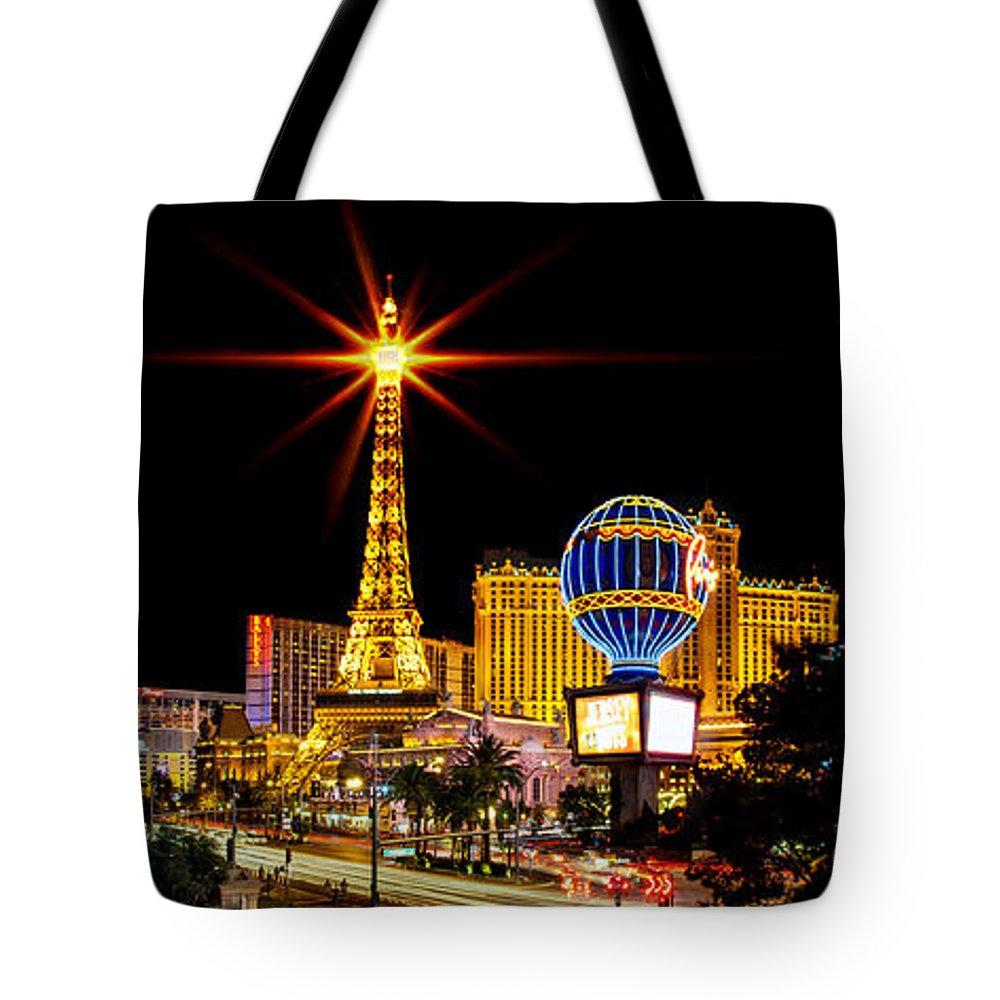 Las Vegas Tote Bag featuring the photograph Lighting Up Vegas by Az Jackson