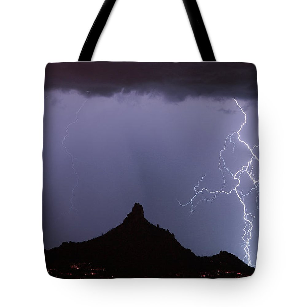 Arizona Tote Bag featuring the photograph Lightnin At Pinnacle Peak Scottsdale Arizona by James BO Insogna