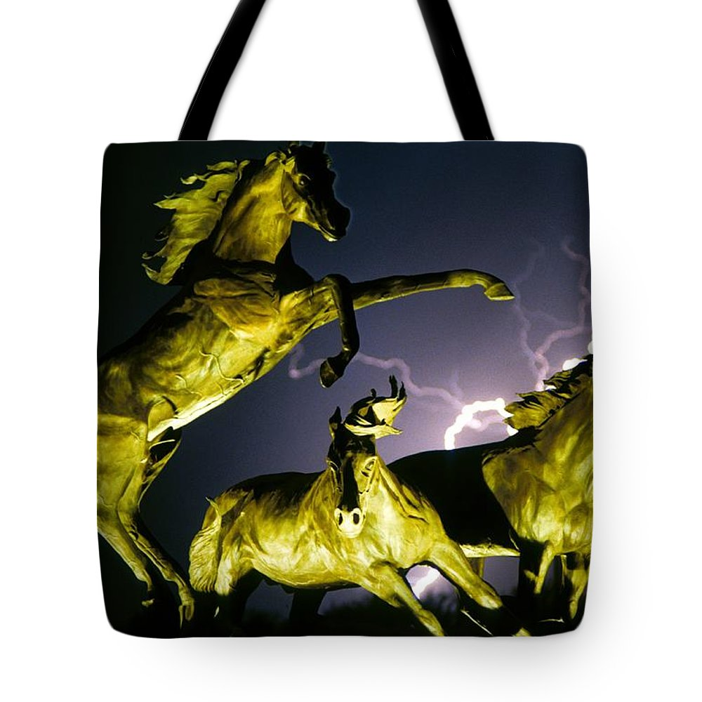 Lightning Tote Bag featuring the photograph Lightning At Horse World Fine Art Print by James BO Insogna