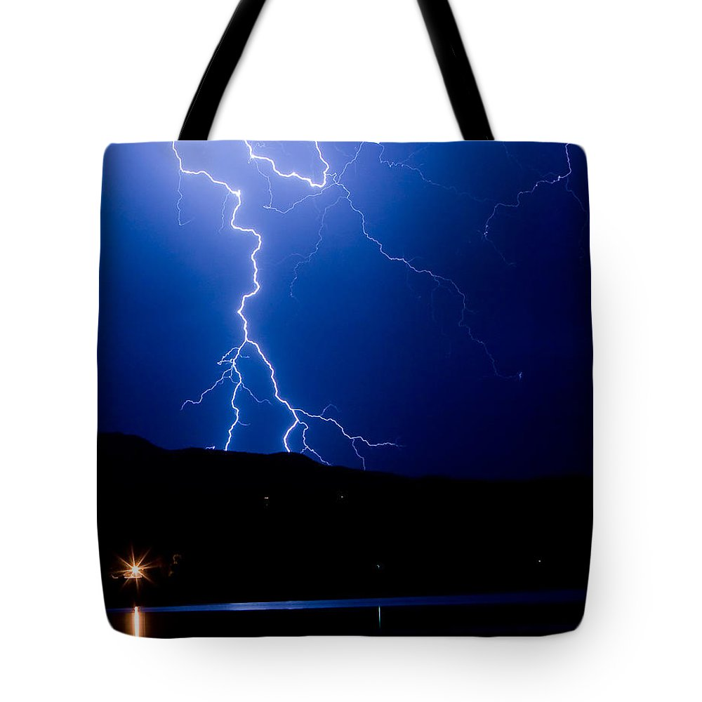 Lightning Tote Bag featuring the photograph Lightning Fork In The Hills by James BO Insogna