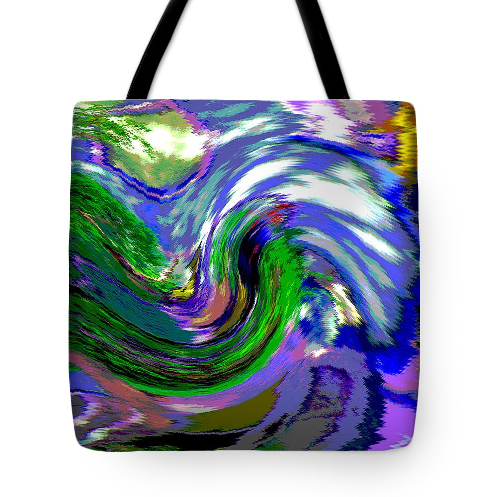Abstract Tote Bag featuring the digital art Lightning On Ocean by Lenore Senior