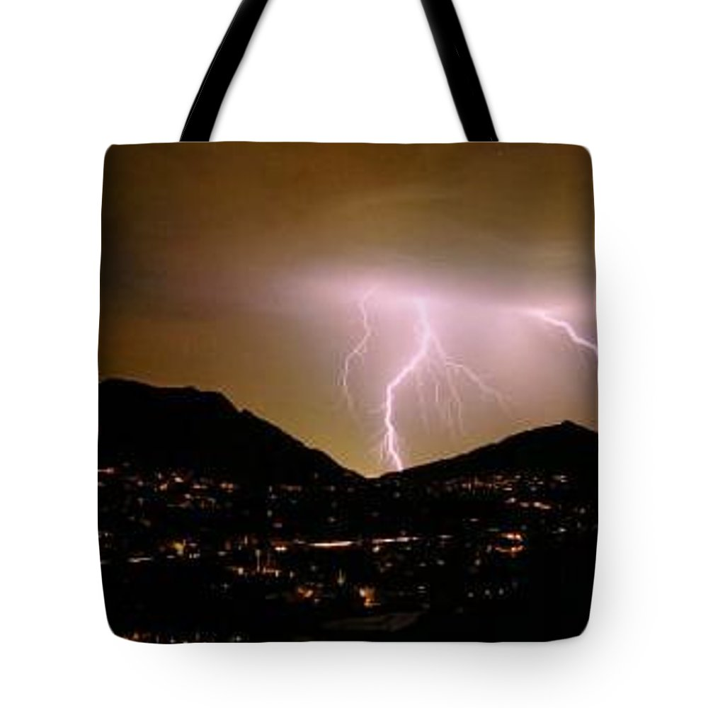 Thunderstorms Tote Bag featuring the photograph Lightning Over Camelback by Cathy Franklin