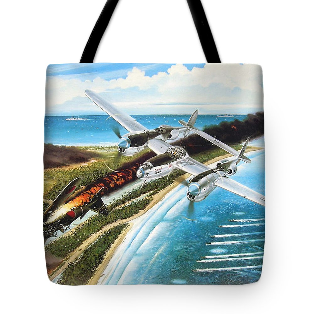 Aviation Tote Bag featuring the painting Lightning Over Mindoro by Marc Stewart