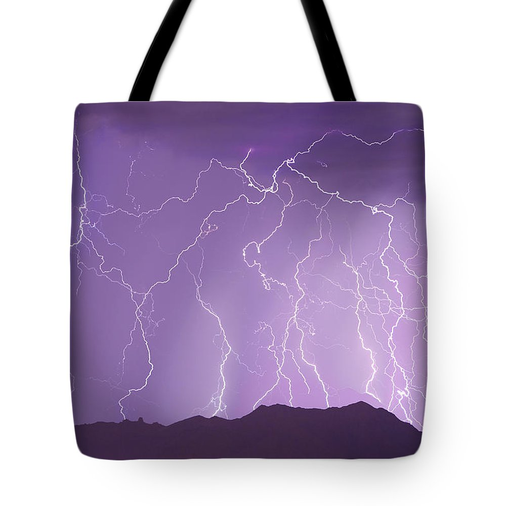 Lightning Tote Bag featuring the photograph Lightning Over The Mountains by James BO Insogna