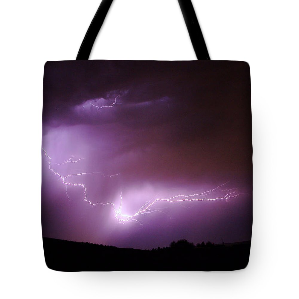 Lightning Tote Bag featuring the photograph Lightning Reaching Down by Jeff Swan