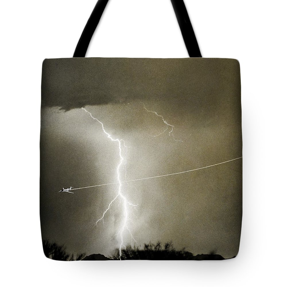 Lightning Tote Bag featuring the photograph Lightning Storm City Lights Jet Airplane Fine Art Photography by James BO Insogna