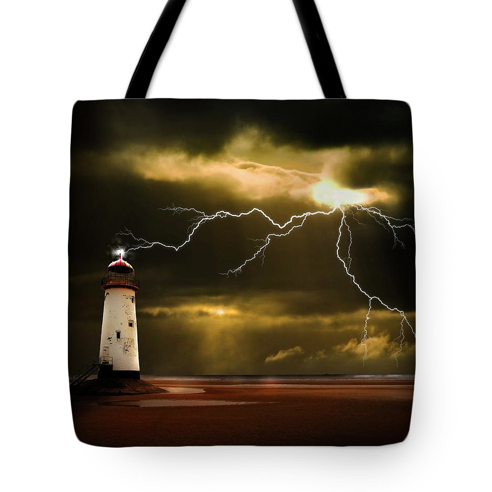 Lighthouse Tote Bag featuring the photograph Lightning Storm by Meirion Matthias