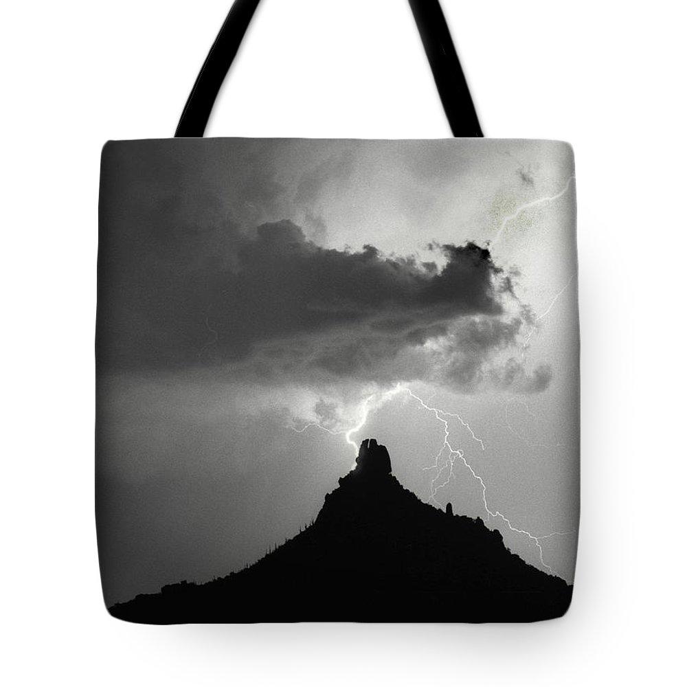 Pinnacle Peak Tote Bag featuring the photograph Lightning Striking Pinnacle Peak Arizona by James BO Insogna