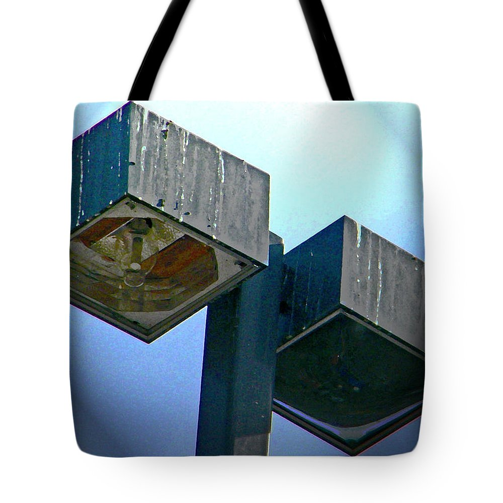 Abstract Tote Bag featuring the digital art Lights At The Parking Lot by Lenore Senior