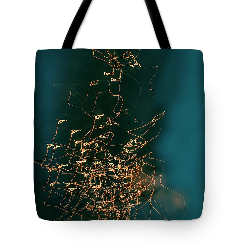 Abstract Tote Bag featuring the photograph Lights by Linda Sannuti