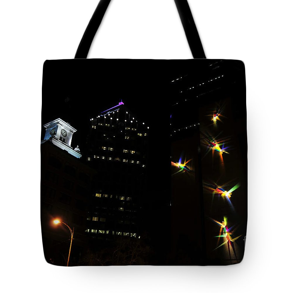 Night Lights Tote Bag featuring the photograph Lights On Tampa by David Lee Thompson