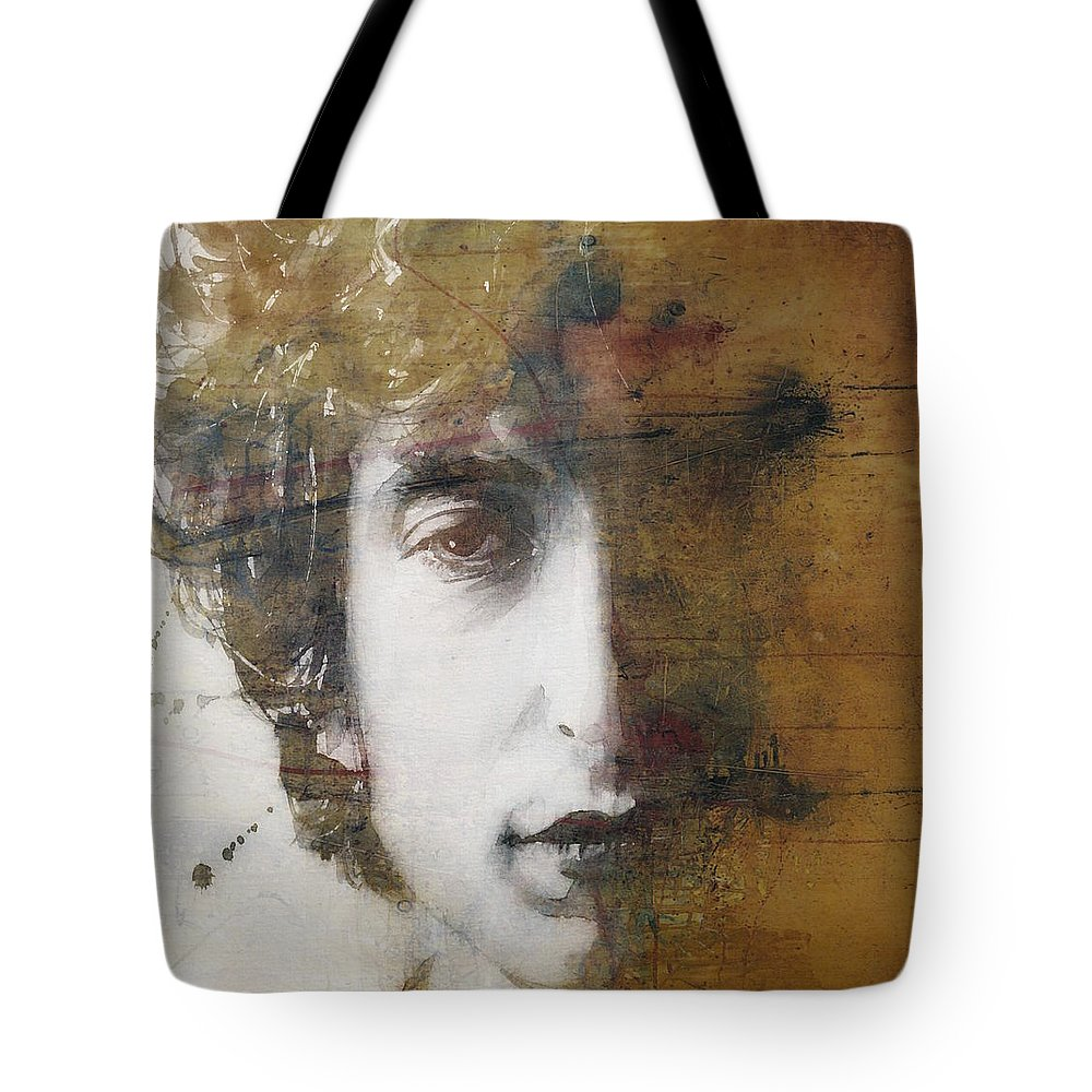 Bob Dylan Tote Bag featuring the mixed media Like A Rolling Stone by Paul Lovering