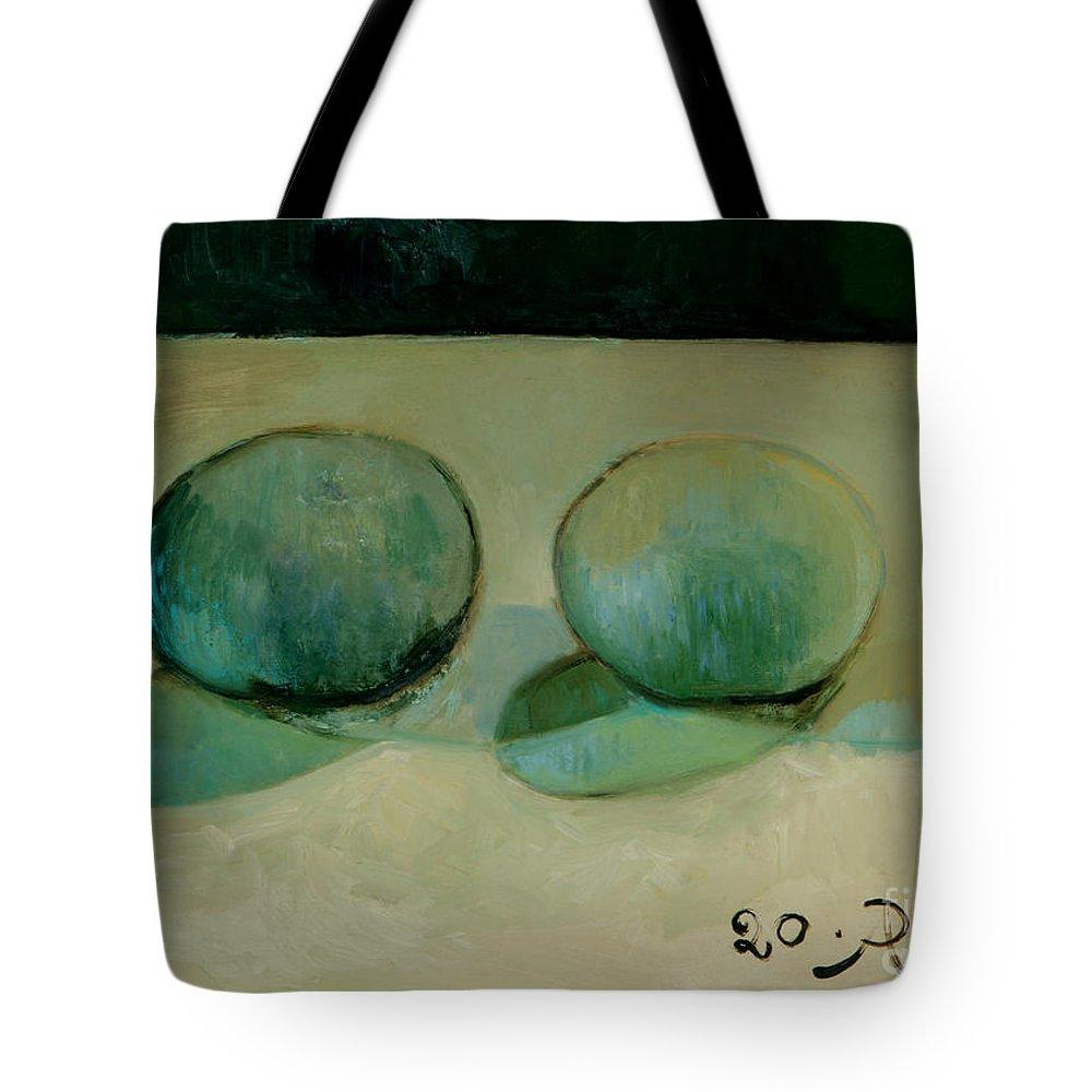 Still-life Reflection Pumpkins Tote Bag featuring the painting Like In The Rain by Raimonda Jatkeviciute-Kasparaviciene